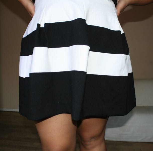 express-black-and-white-stripe-skirt