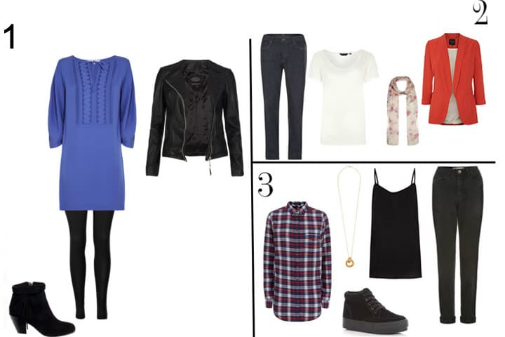 Dressing for a pear shaped body, clothing examples