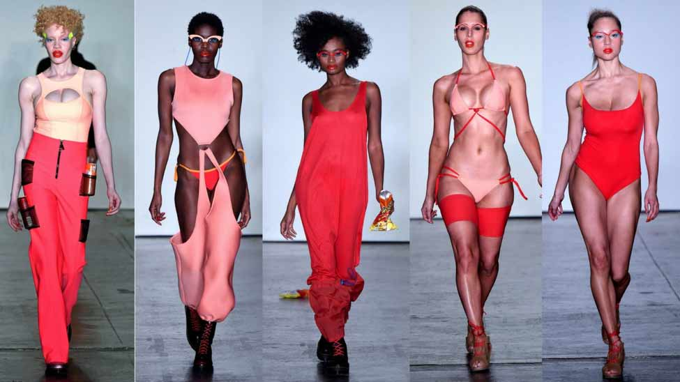 Bandelettes Chromat Runway showing off thigh wear